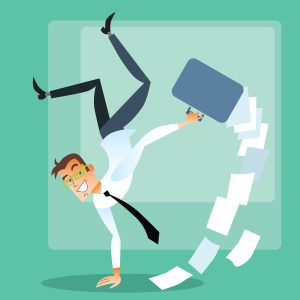 Successful deal. Joyful businessman in suit does a handstand