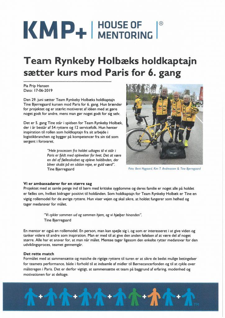Team Rynkeby Holbæks Holdkaptajn sætter kurs mod Paris for 6. gang